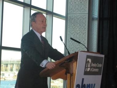 Mayor Michael Bloomberg lays out his jobs growth plan at the Association for a Better New York breakfast at the Steiner Studios at the Brooklyn Navy Yard.