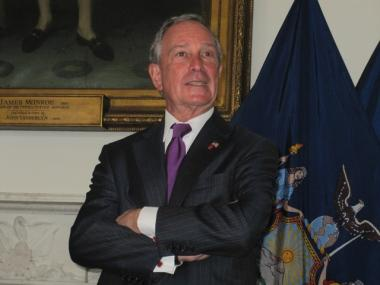 Mayor Michael Bloomberg said he's been donning his purple tie in honor of bipartisanship.