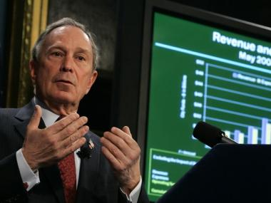 New York City Mayor Michael Bloomberg delivers the fiscal year 2009 budget, on Thursday, May 1, 2008. At the time, he described the impact of falling Wall Street tax revenue as