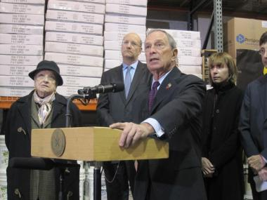 Mayor Michael Bloomberg giving an update on snow removal efforts in the South Bronx last Wednesday.