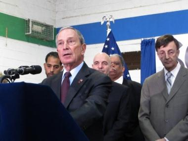 Mayor Michael Bloomberg gives an update on snow removal during a stop in Queens.