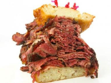 Where's the beef? There's plenty of it on this 2nd Avenue Deli pastrami and potato pancake sandwich.