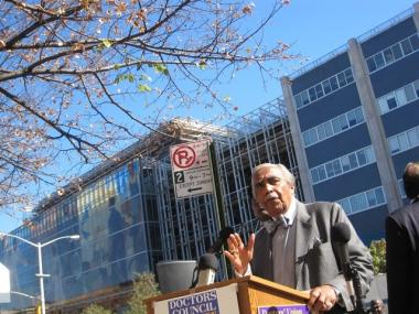 U.S. Rep. Charlie Rangel spoke at an October rally to protest proposed cuts at Harlem Hospital.