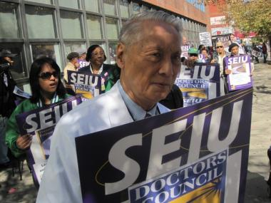 Doctors protested the proposed contract in October.