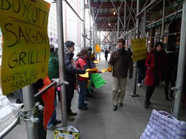 Workers have been picketing the Saigon Grill since late November.