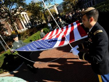 ROTC cadets participated in a flag raising at Columbia University on Veterans Day 2010.
