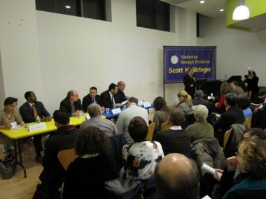 Borough President Scott Stringer hosted a town hall meeting on World Trade Center rebuilding Wednesday night.