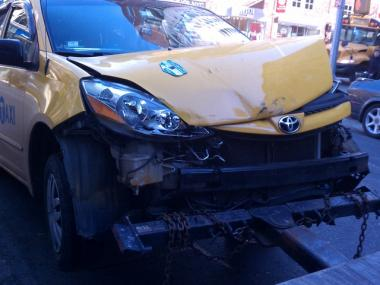 A cab that was in a collision with another cab at 17th Street and 8th Avenue on Tuesday afternoon.