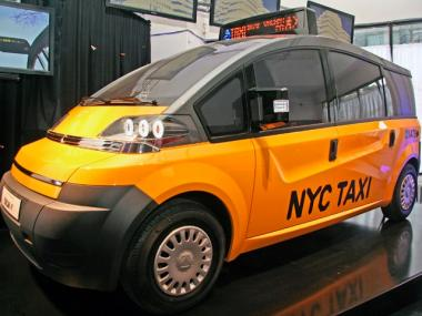 A model of one of the finalists for the Taxi of Tomorrow competition was unveiled at the Classic Car Club in SoHo on Feb. 2.