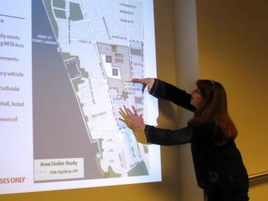 Mary Perillo, a Cedar Street resident, expressed concern with the city's plan to allow buses on narrow streets south of the World Trade Center site.