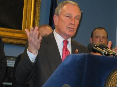 Mayor Michael Blomberg reacted to Gov. Andrew Cuomo's budget proposal at a City Hall press conference Feb. 2.