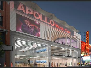 A rendering of a proposed expansion of the Apollo Theater. Retail space would be on the lower level.