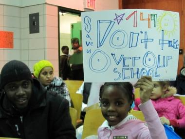 A grassroots protest about overcrowding and closures at Harlem schools.
