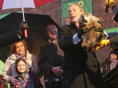 Mayor Michael Bloomberg and Staten Island Chuck.