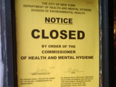 A Department of Health Sign on the door of Coyote Ugly said the bar was closed on Feb. 15 for health code violations.