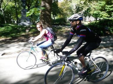 Cyclists in Central Park.