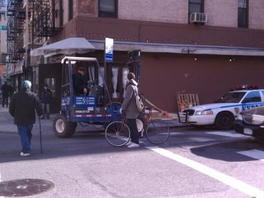 A forklift became stuck after its wheels broke the sidewalk door of a Murray Hill restaurant Monday morning.