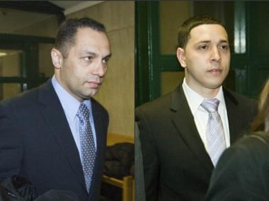 Police officers Kenneth Moreno (l.), 43, and Franklin Mata (r.), 28, are on trial for an alleged  rape of an East Village woman in 2008.
