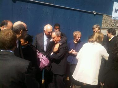 Mayor Micheal Bloomberg attended a groundbreaking for the Harlem Children's Zone charter school in Harlem this morning.