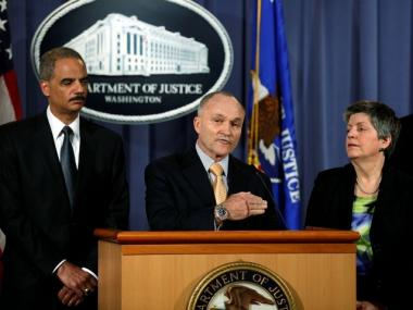 Police Commissioner Raymond Kelly  speaks at a press conference held by U.S. Attorney General Eric Holder (L) at Department of Justice headquarters regarding the investigation into the recent attempted Times Square car bombing May 4, 2010. Also pictured is Secretary of the Department of Homeland Security Janet Napolitano.