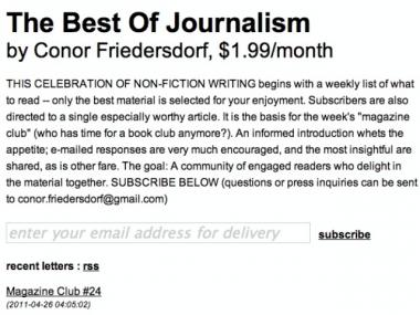 A screenshot from a paid email newsletter service run by journalism Conor Friedersdorf, using Letter.ly