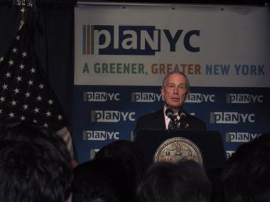 Mayor Michael Bloomberg unveiled the updated PlaNYC in Harlem Thursday.