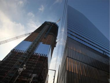 One World Trade Center, which is under construction, was the site of an accident Saturday.