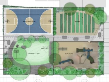 A rendering of the planning 103rd Street Community Garden.