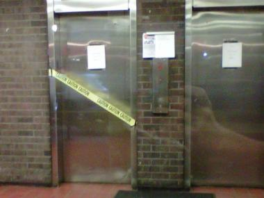 Cordoned-off elevator at 331 E. 29th St.