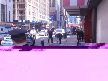 Police cordon off a portion of Eighth Ave. between 34rd and 35th streets after a man was stabbed inside Penn Station on Friday morning.