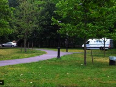 The crime scene at Inwood Hill Park after a 21-year-old woman was raped there Friday night.