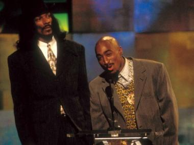 Tupac Shakur (R) and Snoop Dog at the 1996 MTV Video Music Awards at Radio City Music Hall in Sept. 1996.