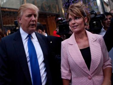 Donald Trump and Sarah Palin drew a massive crowd during their New York visit Tuesday.
