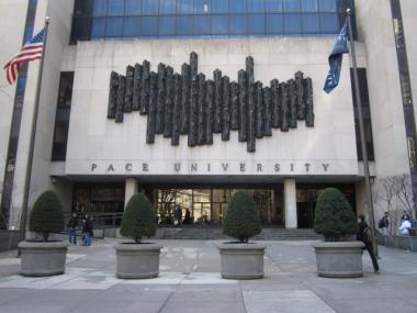 The empty plaza in front of Pace University's entrance may get a makeover.