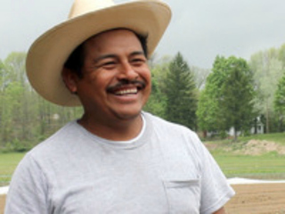 Gudelio Garcia, 46, grew and sold watermelon for 17 years in Mexico City. He now grows them at El Poblano Farm, New Springville, and sells them at farmers markets city-wide.
