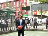 Obama and Romney Lookalikes Spar at West 4th St. Basketball Courts