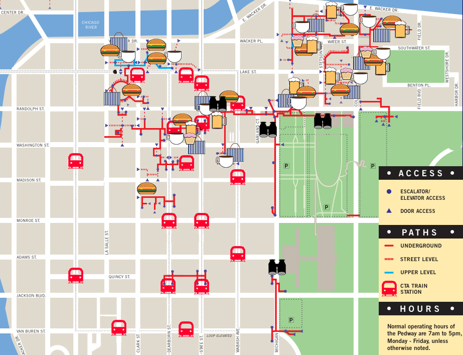 Interactive Pedway Map Where To Eat Drink Shop Without