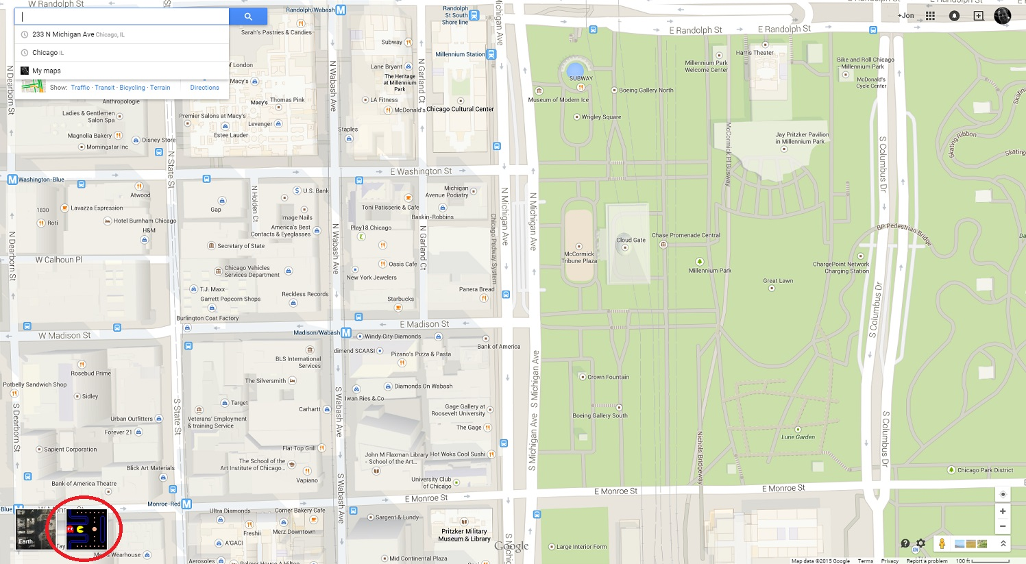 Play PacMan On Google Maps Now And Run From Ghosts In Millennium - Chicago map google maps
