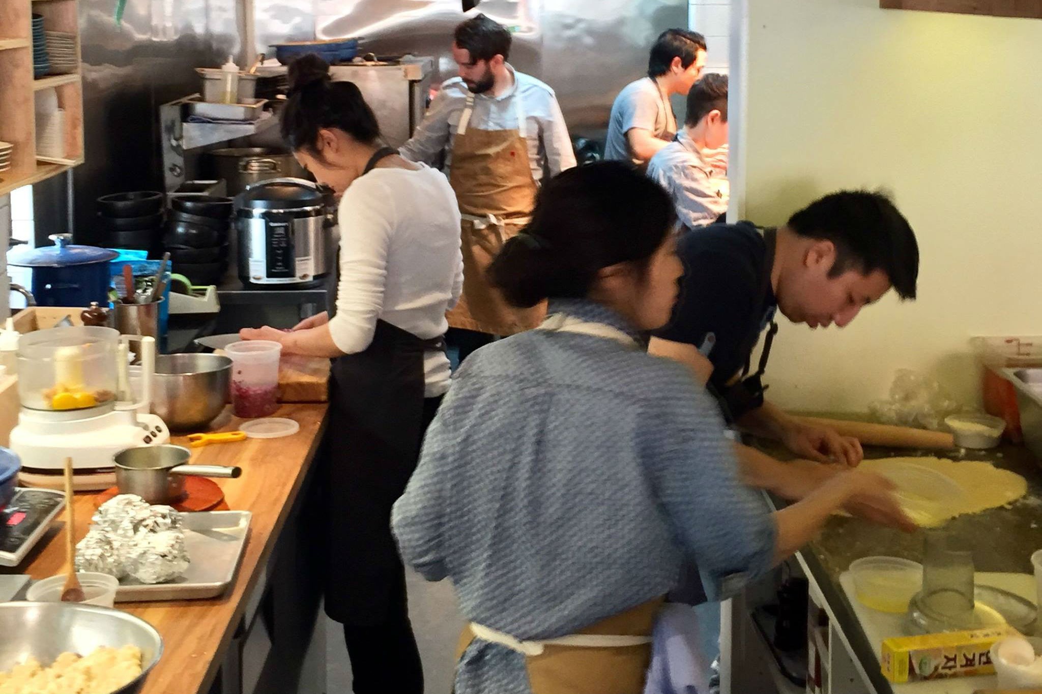 Chef Beverly Kim In White Shirt And Staff At Parachute Just Named To Bon E S Best New Restaurants List Facebook