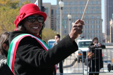 Dorothy Brown, Clerk of the Circuit Court of Cook County for the First Judicial District, marches in the Columbus Day Parade on Oct. 8, 2012.