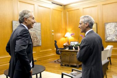 Tony Blair meets with Mayor Rahm Emanuel Thursday in Chicago.