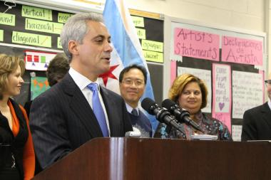 Mayor Rahm Emanuel unveils the city's new cultural plan today during a media event at a Pilsen school. World-renowned cellist Yo-Yo Ma and Michelle Boone, head of the city's Department of Cultural Affairs, join him in the background.