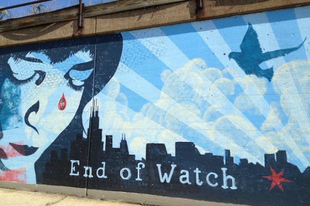 End of Watch mural honors 560 Chicago police officers who have died in the line of duty since 1853.