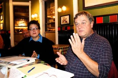In a meeting room at Leona's Restaurant, Joseph Pranica talks about his experience on the street collecting signatures against extending the life of a special taxing district, SSA 57.