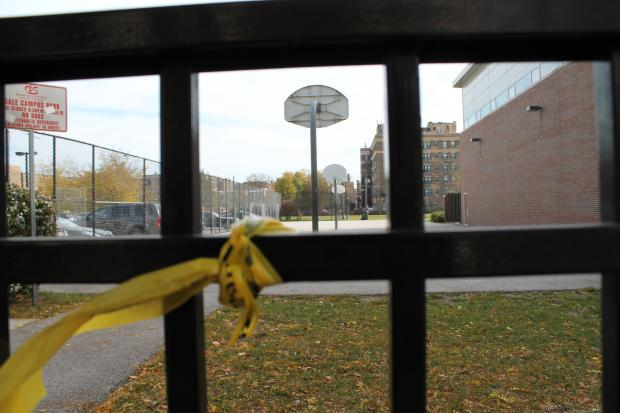Two teenagers who were playing basketball near Gale Elementary school in Rogers Park were shot in a drive-by shooting.