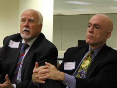 Ald. Pat O'Connor (left, 40th Ward) and State Rep. Greg Harris (D-13) at the Lincoln Square Ravenswood Chamber of Commerce meeting Tuesday.