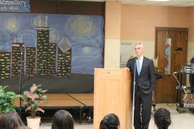 Mayor Rahm Emanuel addresses students at Manuel Perez Jr. Elementary School in Pilsen after releasing the Chicago Cultural Plan 2012.
