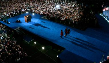 Then president-elect Barack Obama talks to supporters during an election night gathering in Grant Park on November 4, 2008 in Chicago. Obama will hold his 2012 election night gathering at Chicago's McCormick Place.