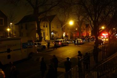 Four people were shot on the 4200 block of South Wells Street Friday evening.