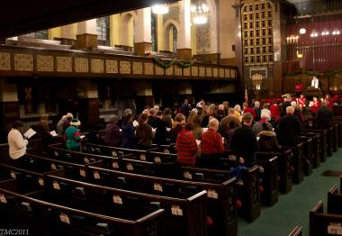 Congregants at Second Presbyterian Church during last year's Christmas service.